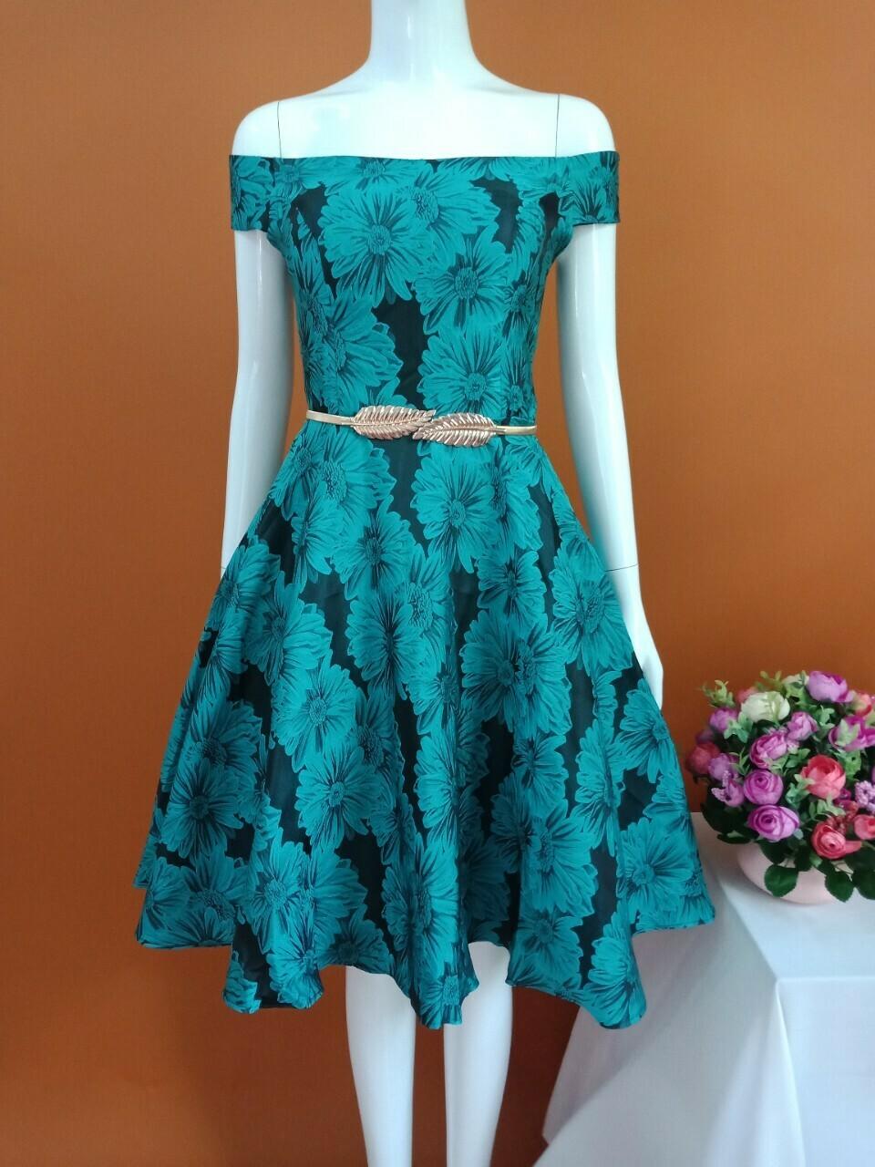 Đầm Xòe Gấm Trễ Vai Hoa Màu Như Hình Ảnh Thật - Đầm Xòe Bông